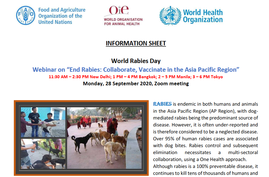 World Rabies Day Webinar on 28 September 2020
