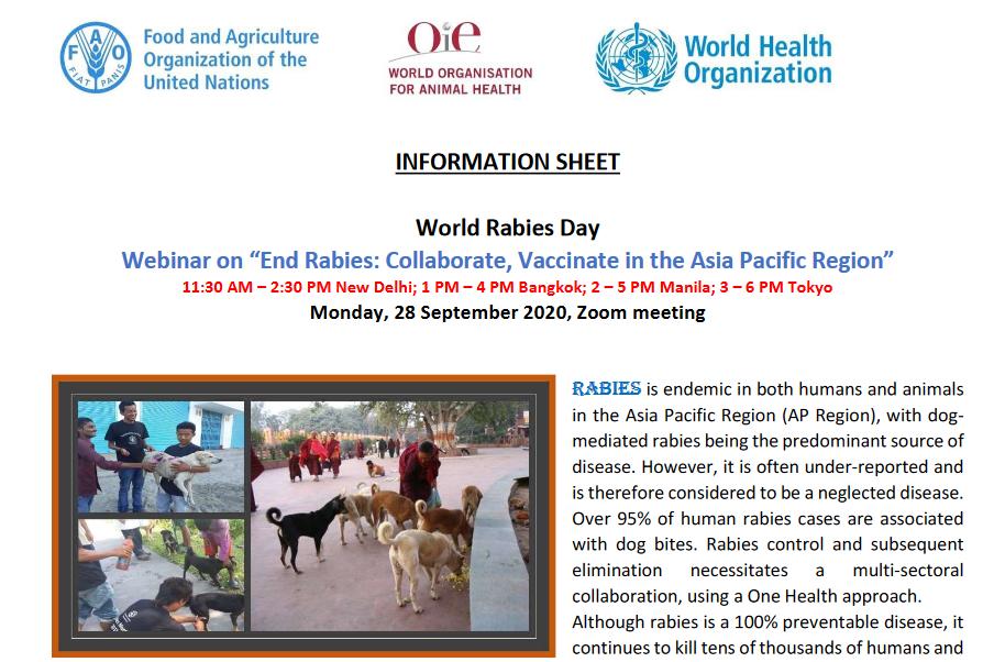 World Rabies Day Webinar on 28 September 2020
